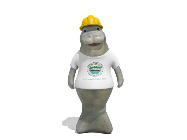 Image of Mac the Manatee with a yellow construction helmet